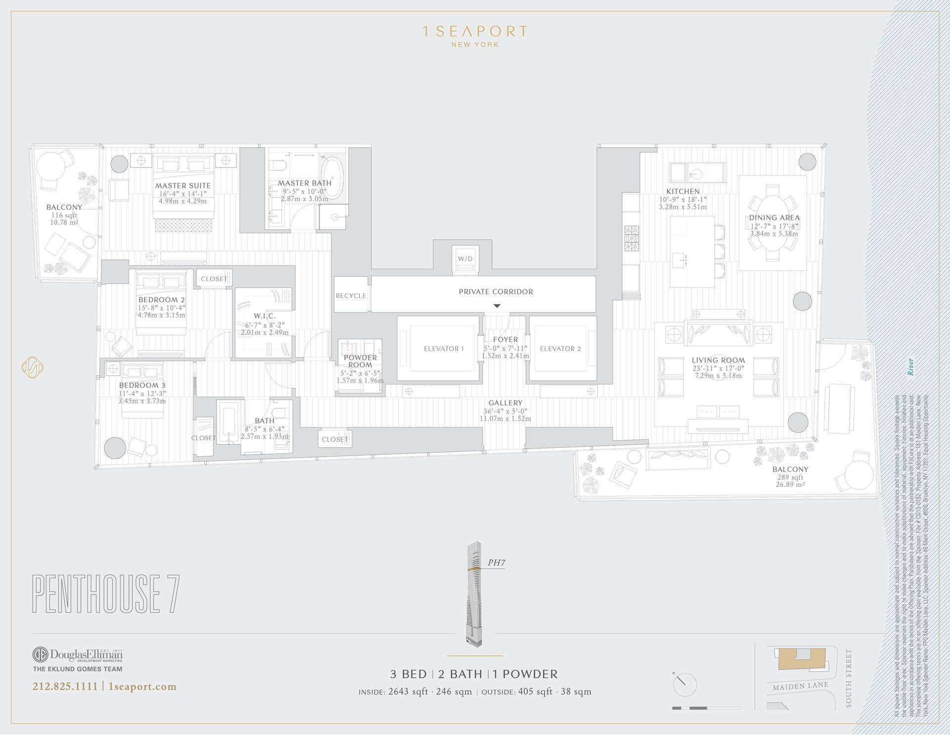 Floor plan of 1 Seaport, 161 Maiden Ln, PH7 - Financial District, New York