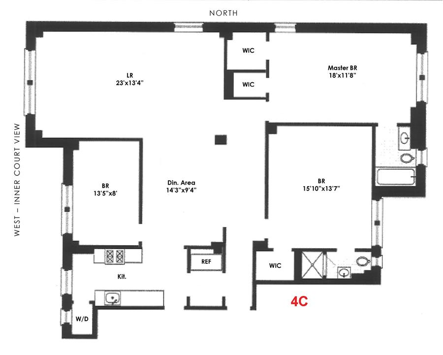 Floor plan of 90 Riverside Drive, 11C - Upper West Side, New York