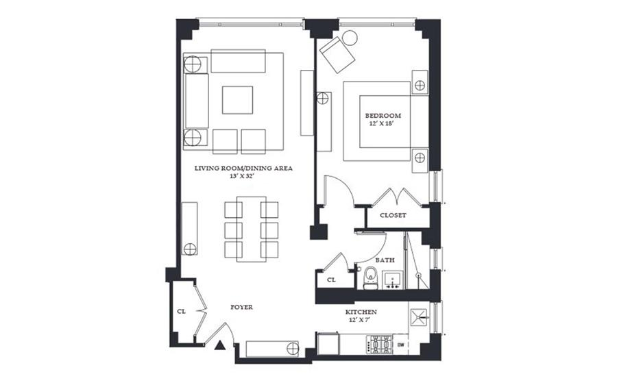 Floor plan of 211 East 51st St, 3F - Turtle Bay, New York