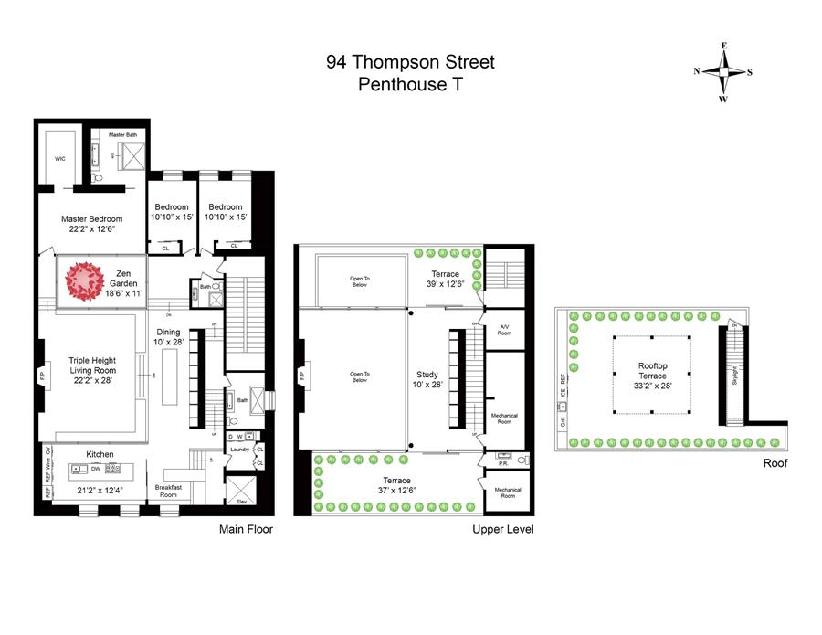 Floor plan of SOHO GALLERY BLDG, 94 Thompson St, PHT - SoHo - Nolita, New York