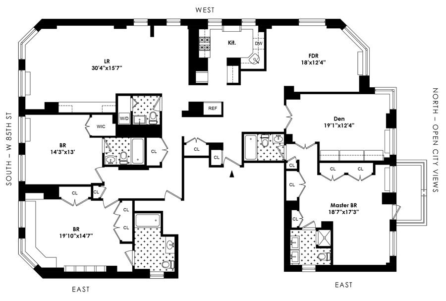 Floor plan of 255 West 85th St, 9ABCD - Upper West Side, New York