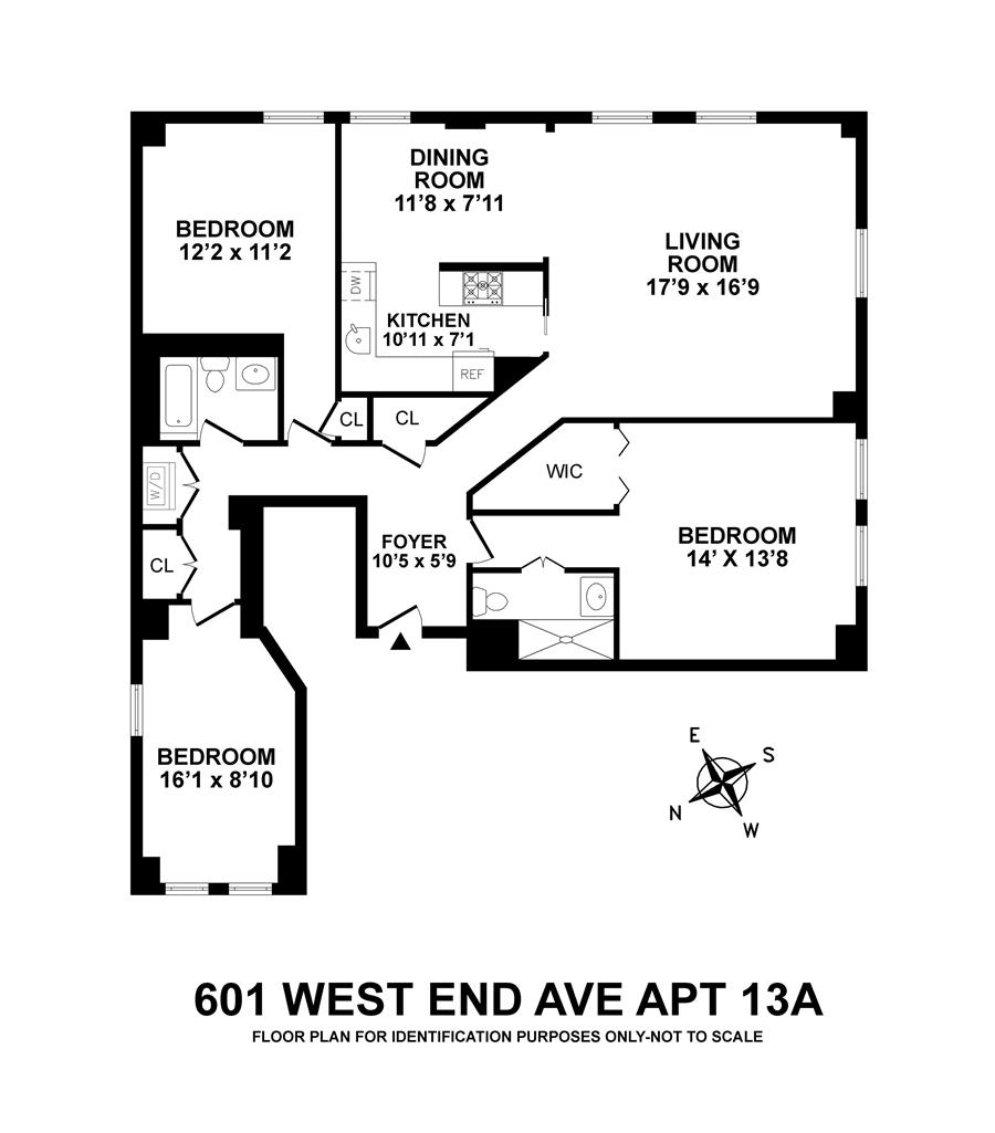 Floor plan of 601 West End Avenue, 13A - Upper West Side, New York