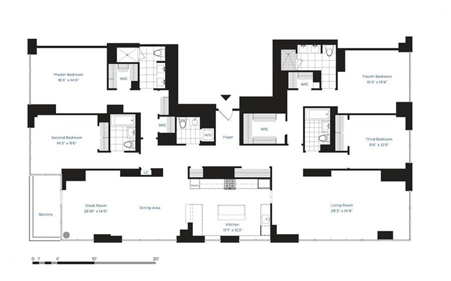 Floor plan of AZURE, 333 East 91st Street, 11C - Upper East Side, New York
