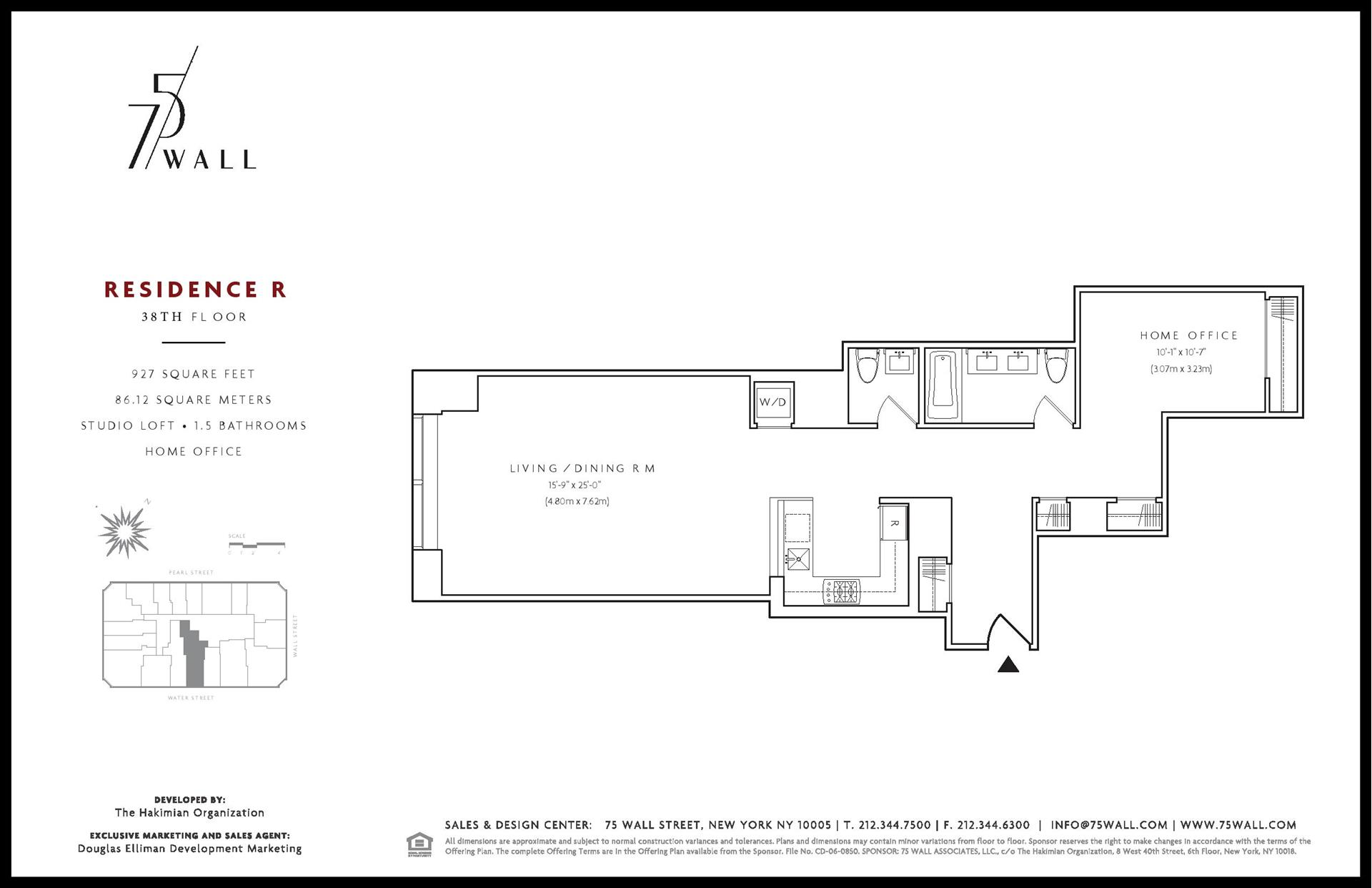 Floor plan of 75 Wall St, 38R - Financial District, New York
