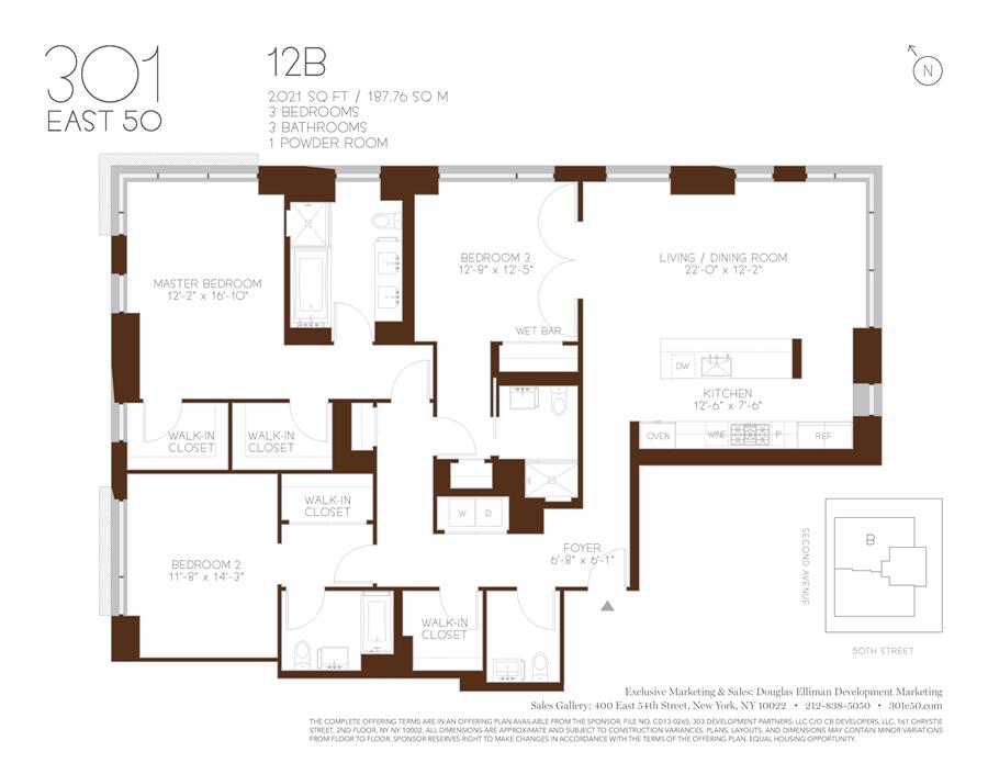 Floor plan of 301 East 50th St, 12B - Turtle Bay, New York