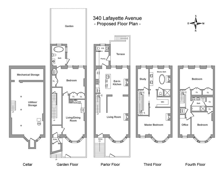 Floor plan of 340 Lafayette Avenue - Clinton Hill, New York