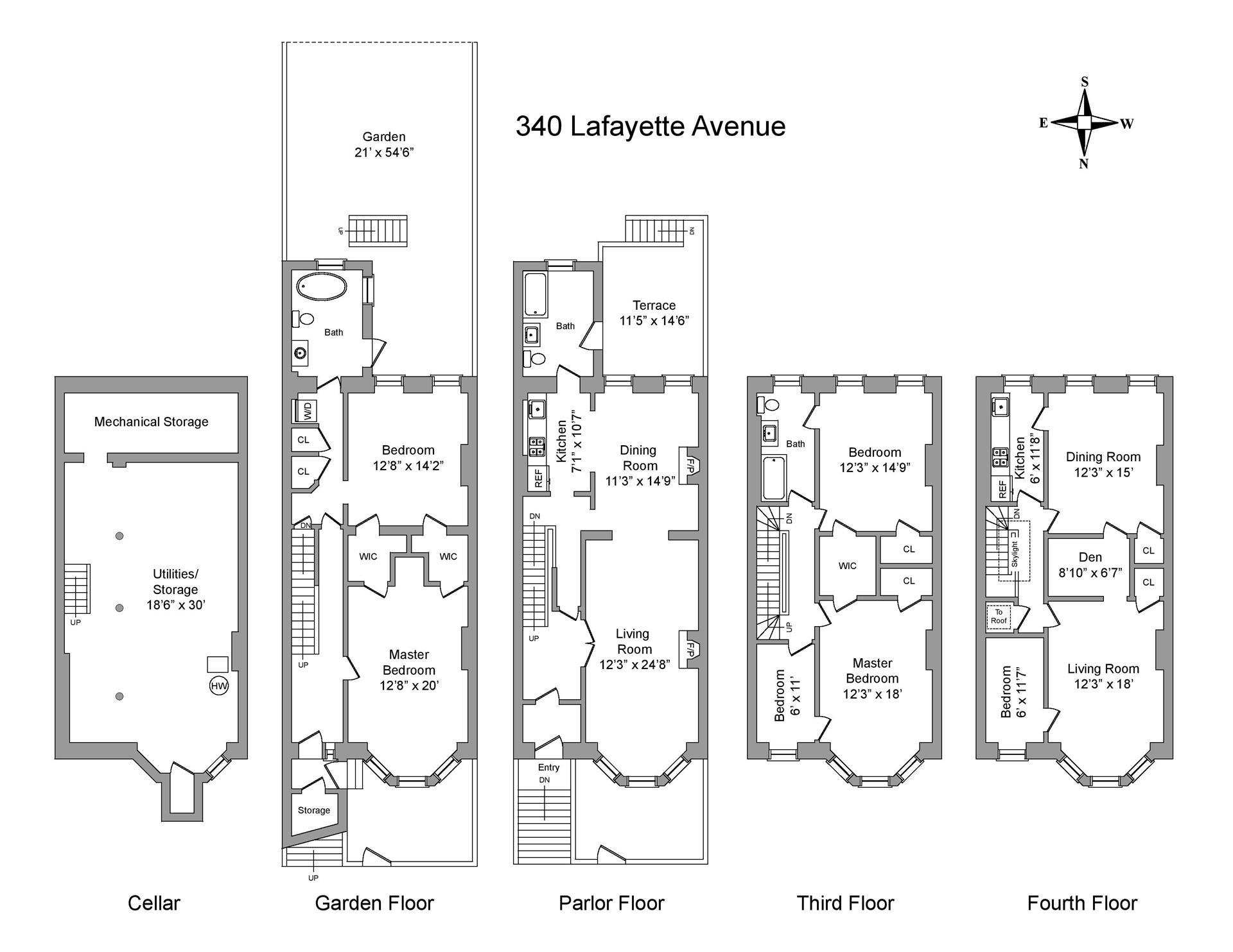 Floor plan of 340 Lafayette Avenue - Clinton Hill, New York