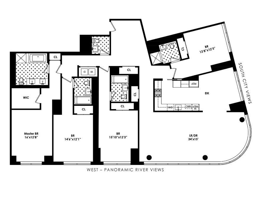 Floor plan of One Riverside Park, 50 Riverside Boulevard, 15L - Lincoln Square, New York