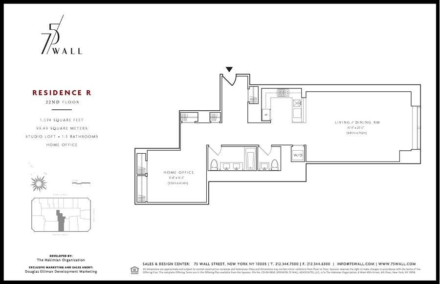 Floor plan of 75 Wall St, 22R - Financial District, New York