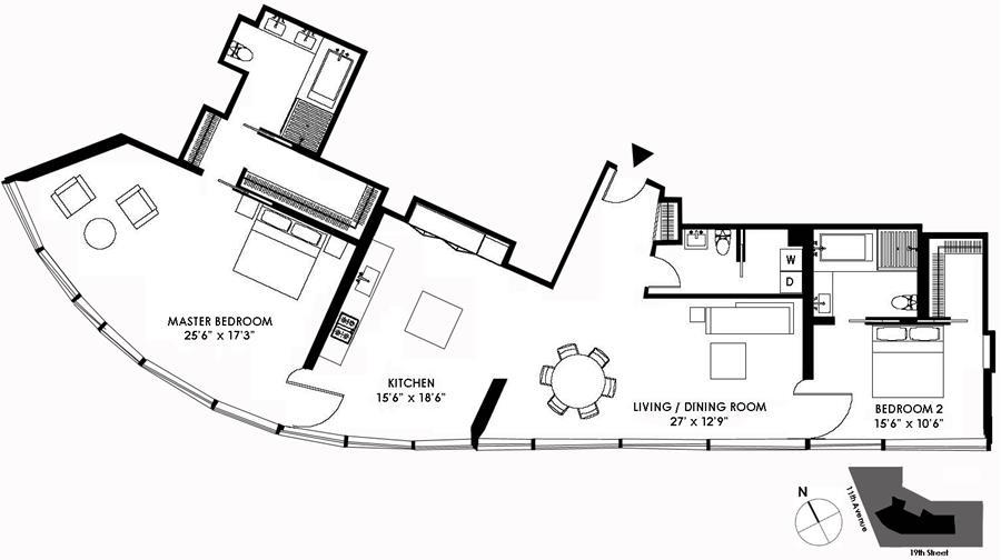 Floor plan of 100 Eleventh Avenue, 12B - Chelsea, New York