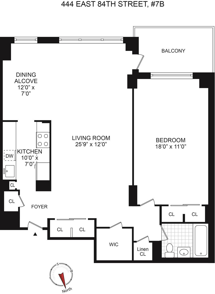 Floor plan of The Claiborne House, 444 East 84th St, 7B - Upper East Side, New York