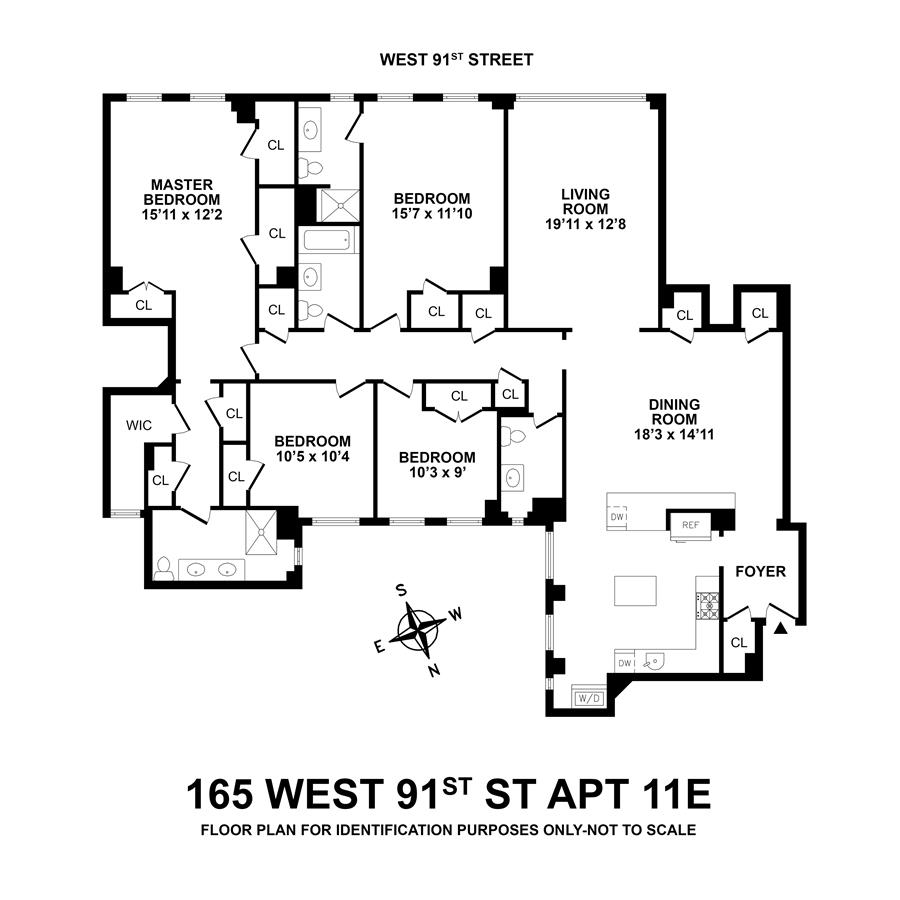 Floor plan of Mirabeau, 165 West 91st St, 11E - Upper West Side, New York