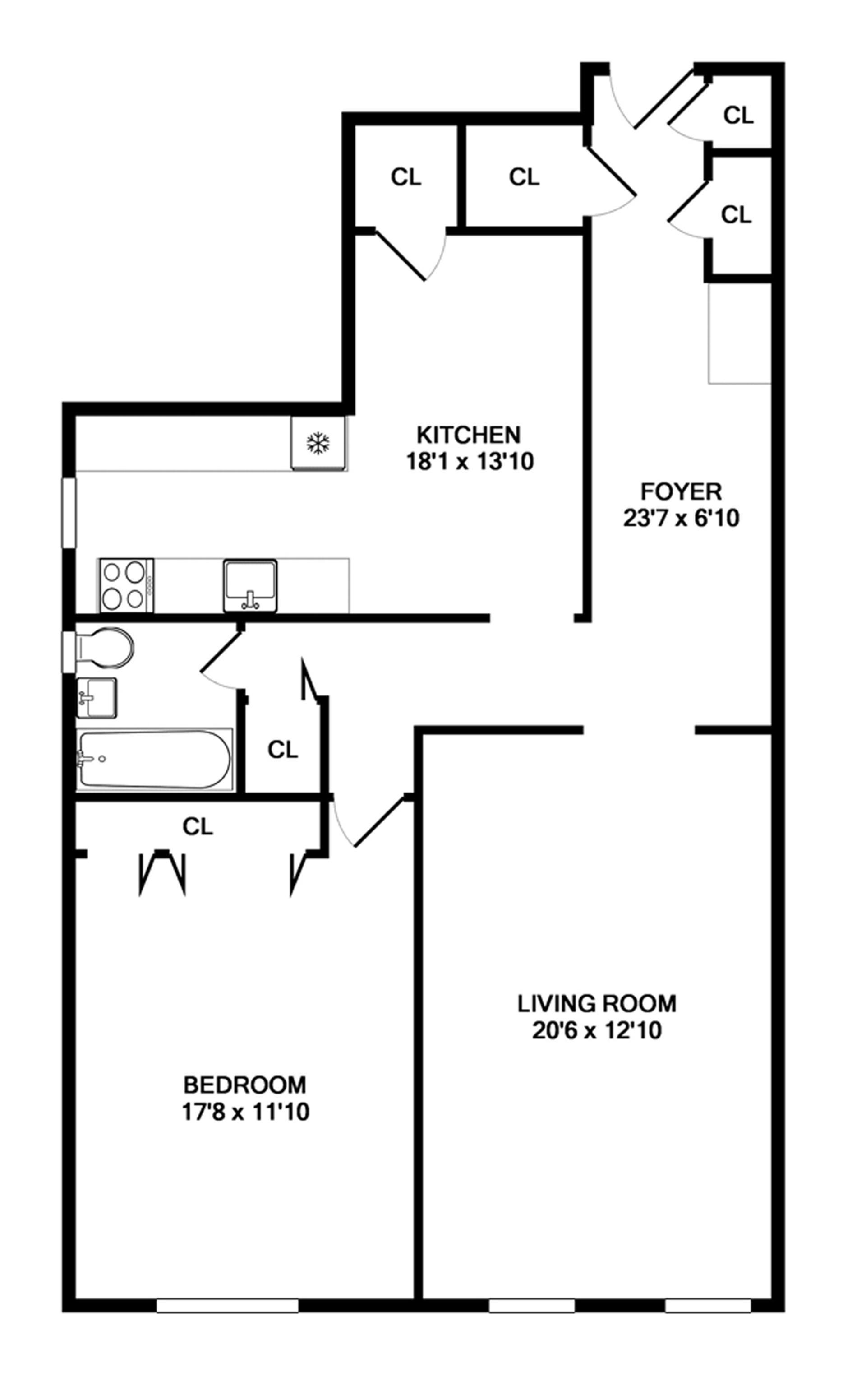 Floor plan of 868 East 7th Street, 6G - Kensington, New York
