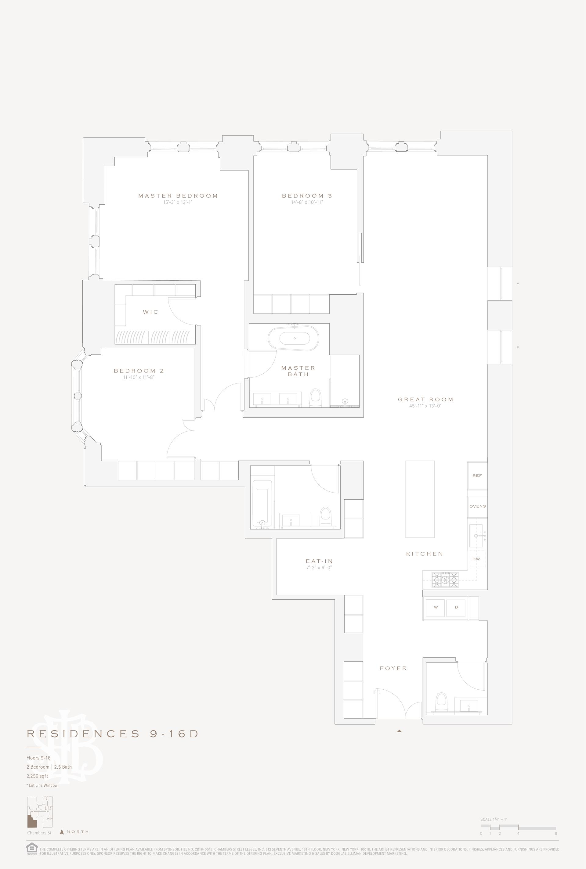 Floor plan of 49 Chambers St, 14D - TriBeCa, New York
