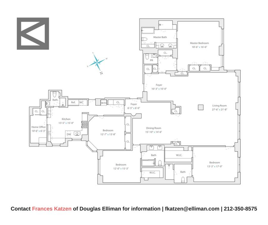 Floor plan of 880 Fifth Avenue, 9C - Upper East Side, New York