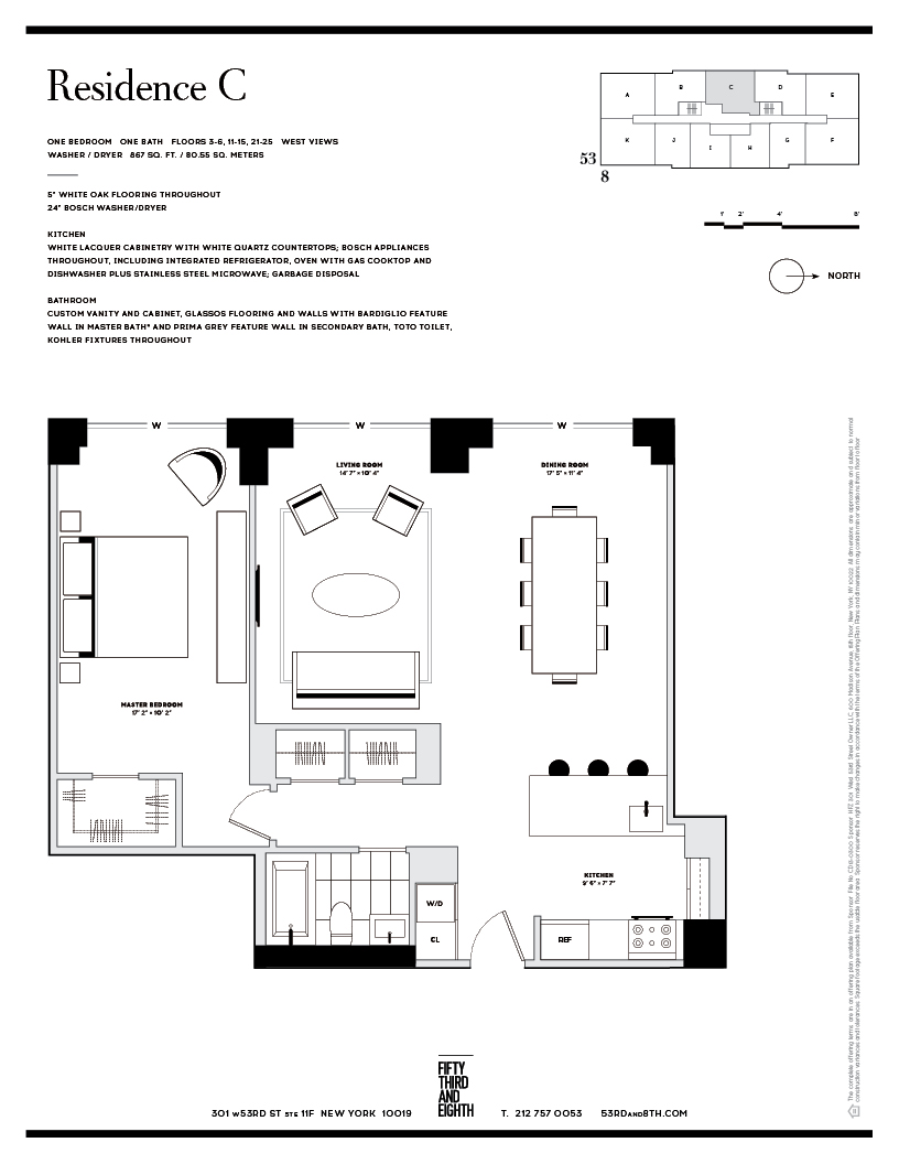 Floor plan of Fifty Third and Eighth, 301 West 53rd St, 4C - Clinton, New York