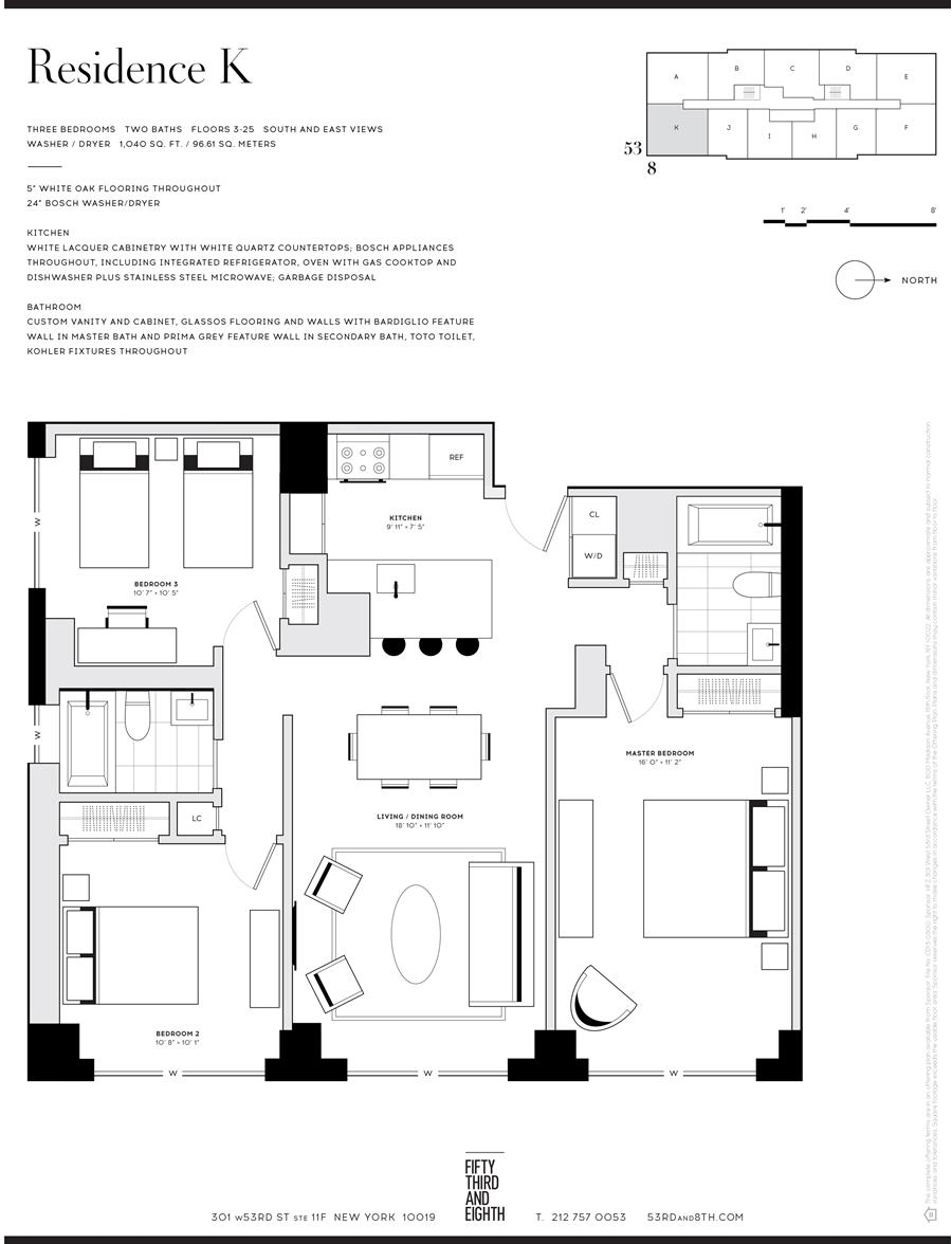 Floor plan of Fifty Third and Eighth, 301 West 53rd St, 3K - Clinton, New York