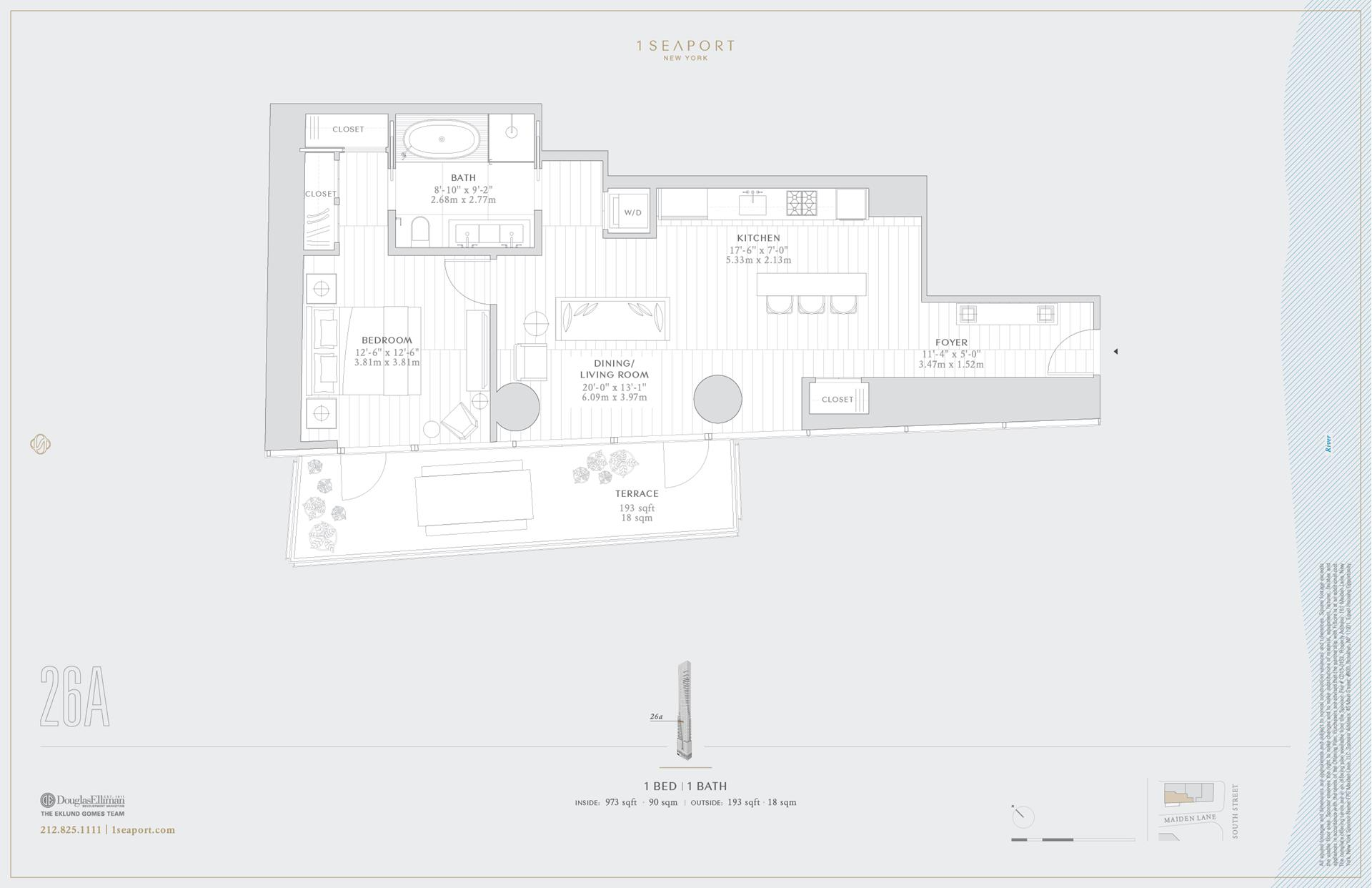 Floor plan of 1 Seaport, 161 Maiden Ln, 26A - Financial District, New York