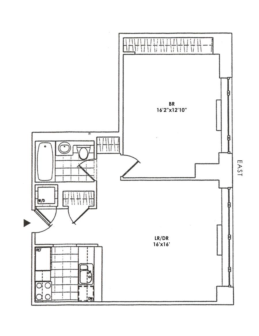 Floor plan of Trump Place 220, 220 Riverside Boulevard, 8U - Upper West Side, New York