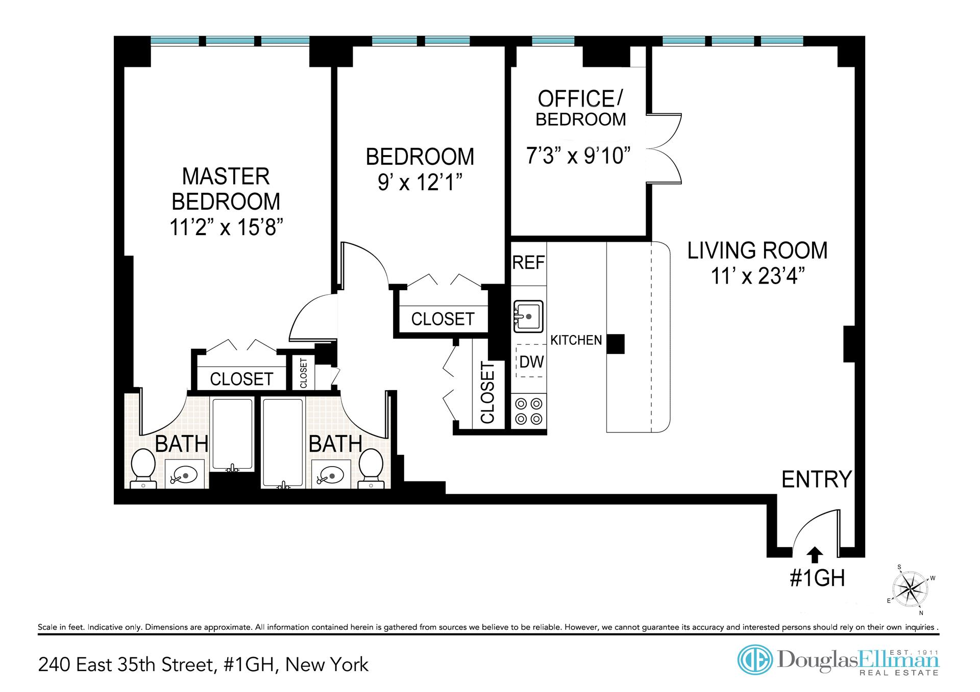 Floor plan of THE MURRAY HILL, 240 East 35th St, 1GH - Murray Hill, New York