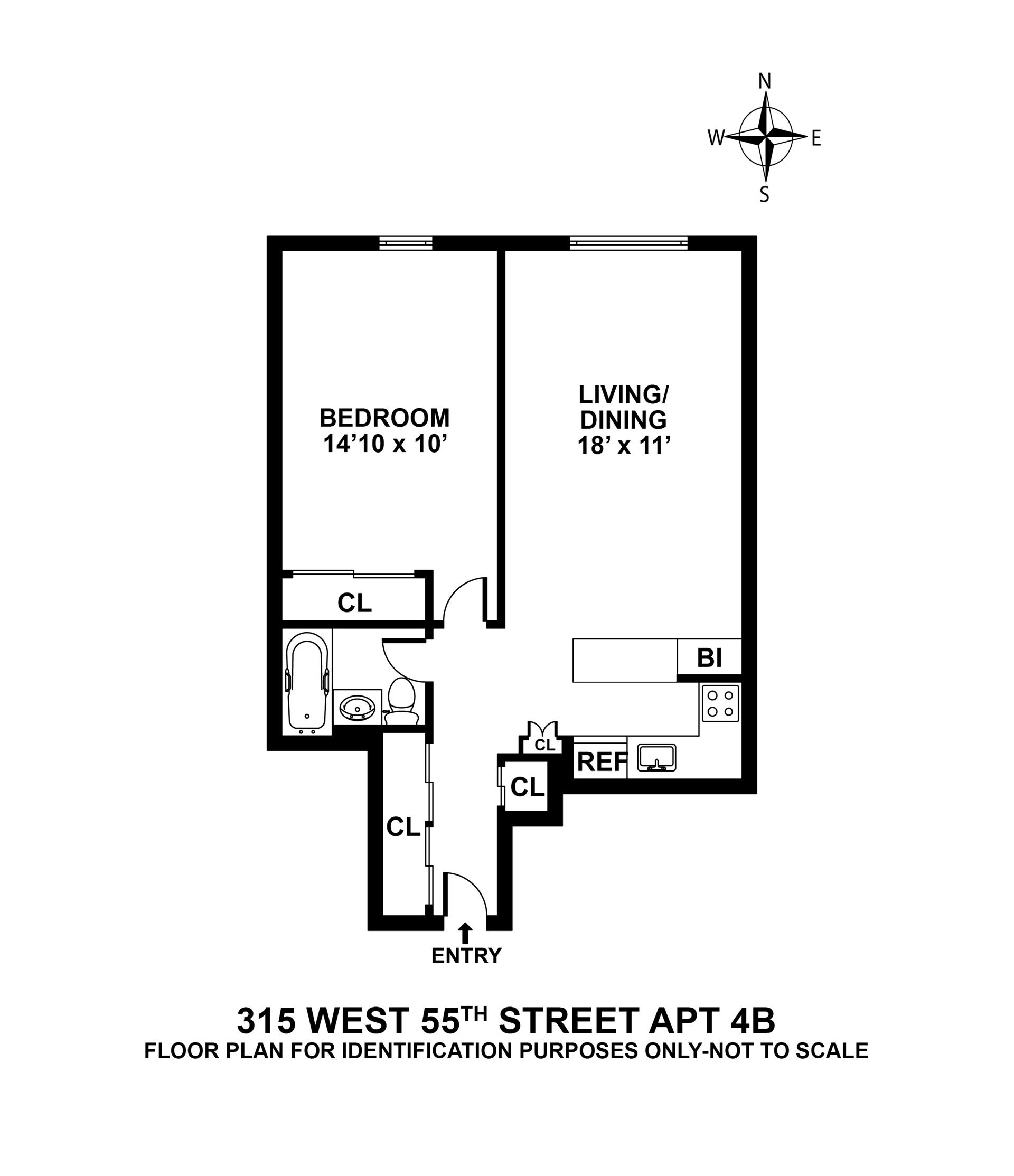 Floor plan of 315 West 55th St, 4B - Clinton, New York