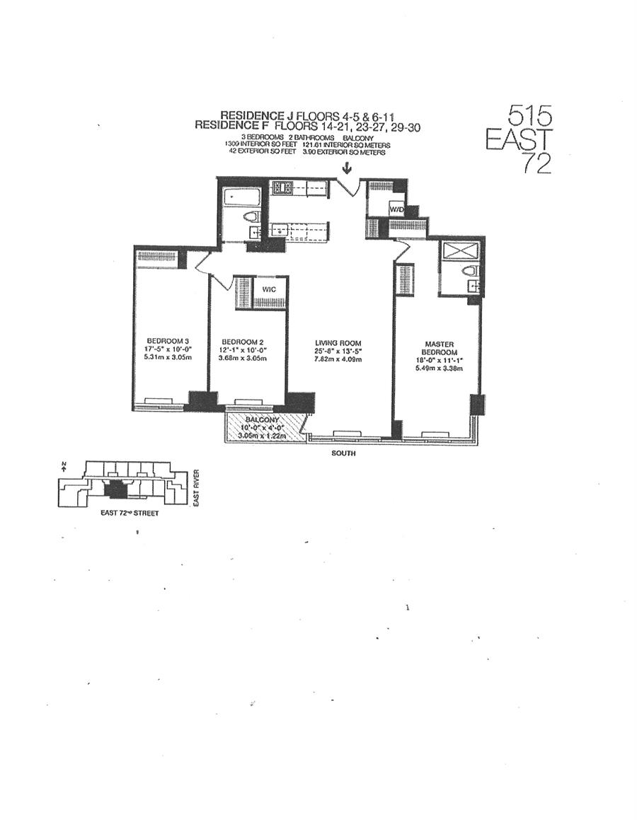 Floor plan of 515 East 72nd St, 16F - Upper East Side, New York