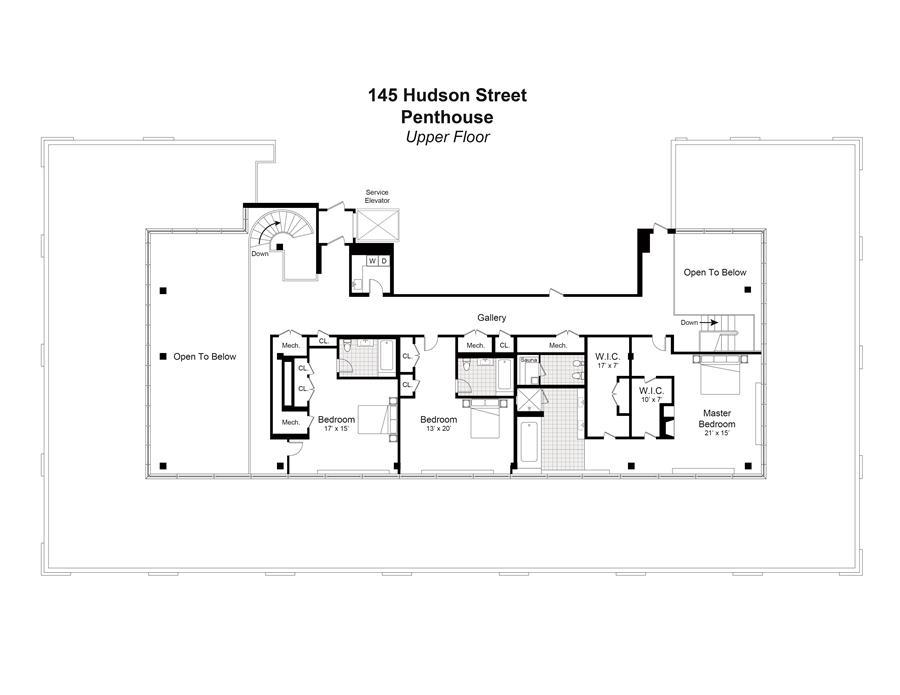 Floor plan of 145 Hudson St, PH - TriBeCa, New York