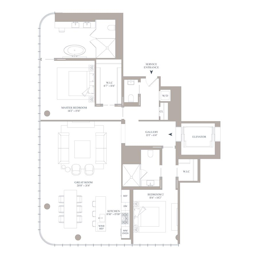 Floor plan of 565 Broome St, S21A - SoHo - Nolita, New York