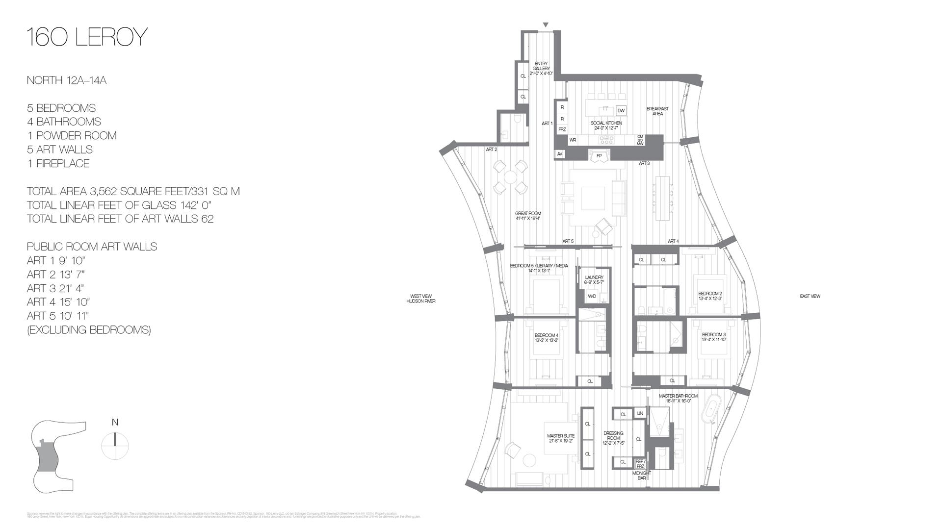 Floor plan of 160 Leroy St, NORTH14A - West Village - Meatpacking District, New York