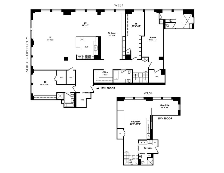 Floor plan of Chelsea Atelier, 245 Seventh Avenue, 11BC/10C - Chelsea, New York