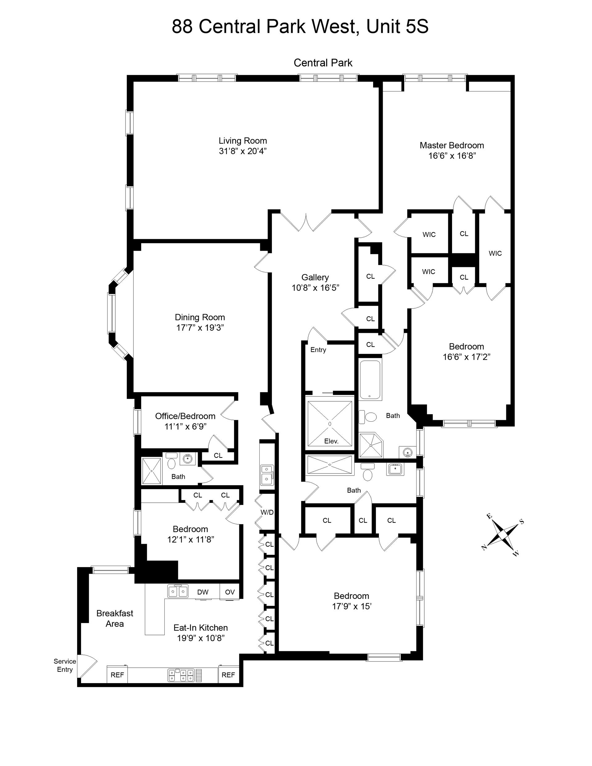 Floor plan of The Brentmore, 88 Central Park West, 5S - Upper West Side, New York