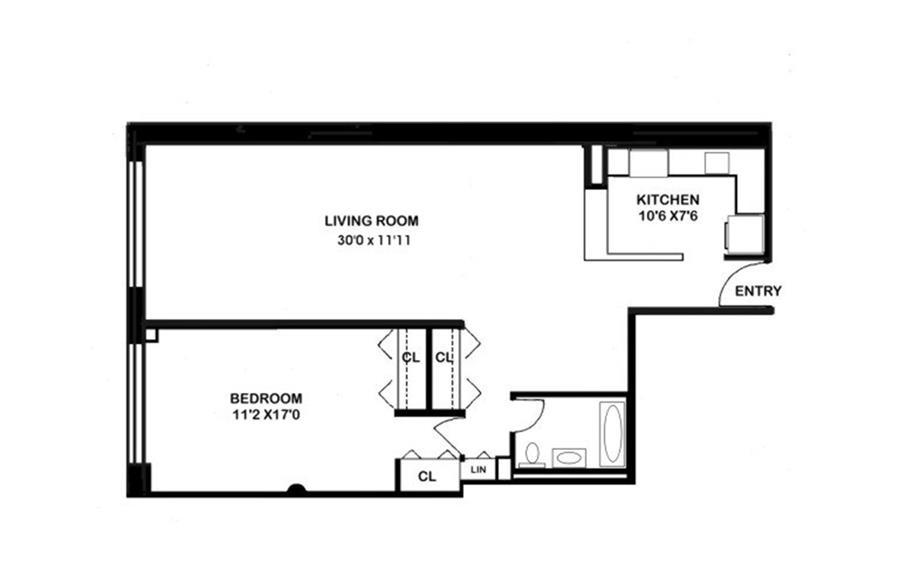 Floor plan of THE RENWICK, 808 Broadway, 4/K - Greenwich Village, New York