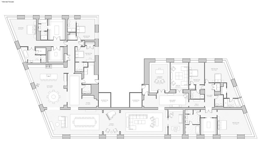 Floor plan of 551 West 21st St, 17AB - Chelsea, New York