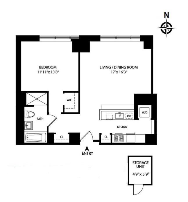 Floor plan of The Charleston, 225 East 34th Street, 9K - Murray Hill, New York