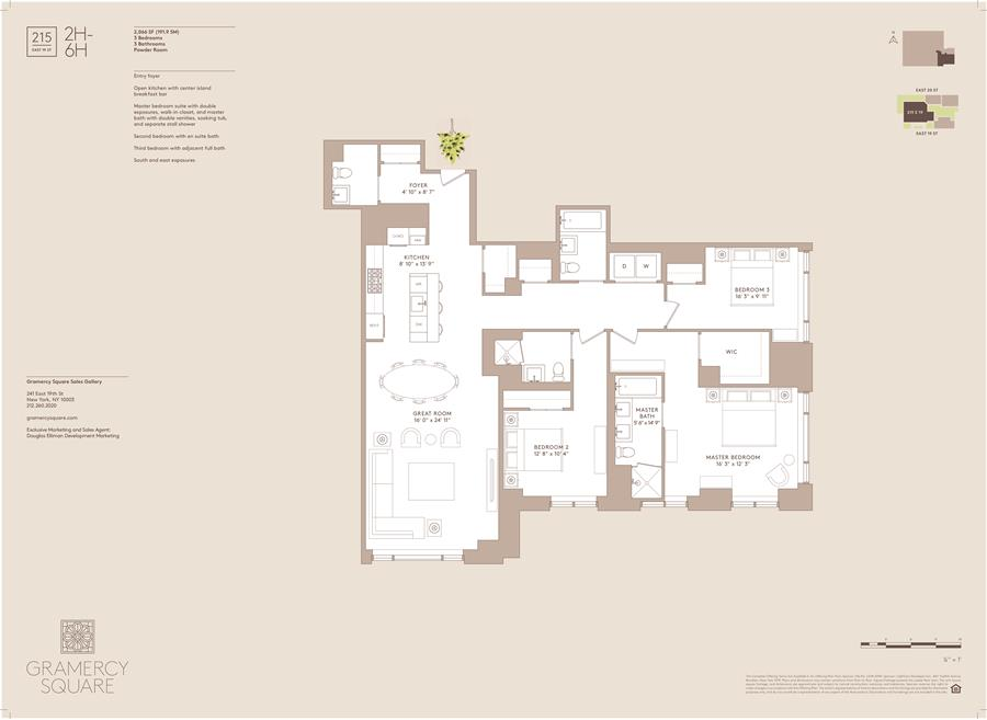 Floor plan of Gramercy Square, 215 East 19th St, 3H - Gramercy - Union Square, New York