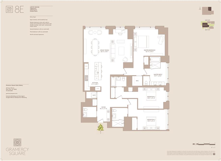 Floor plan of Gramercy Square, 215 East 19th St, 8E - Gramercy - Union Square, New York