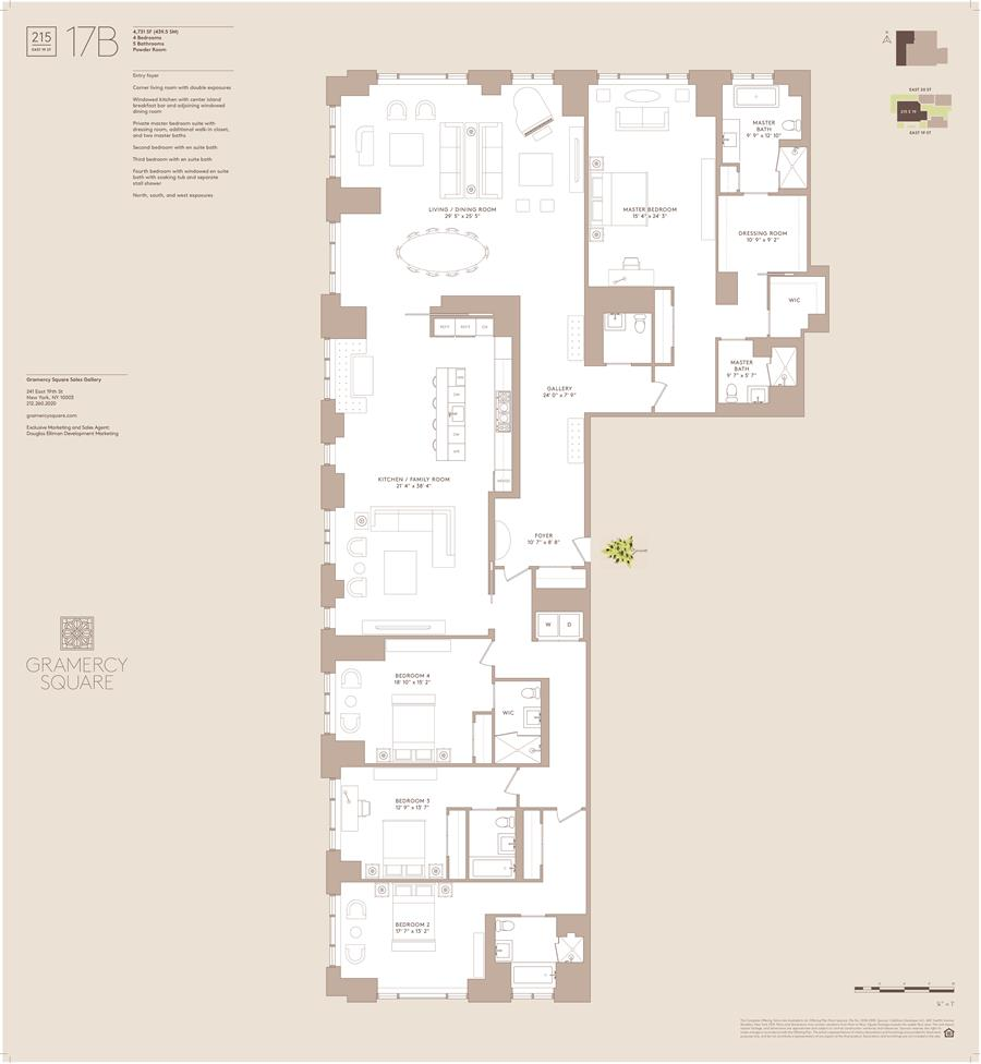 Floor plan of Gramercy Square, 215 East 19th St, 17B - Gramercy - Union Square, New York