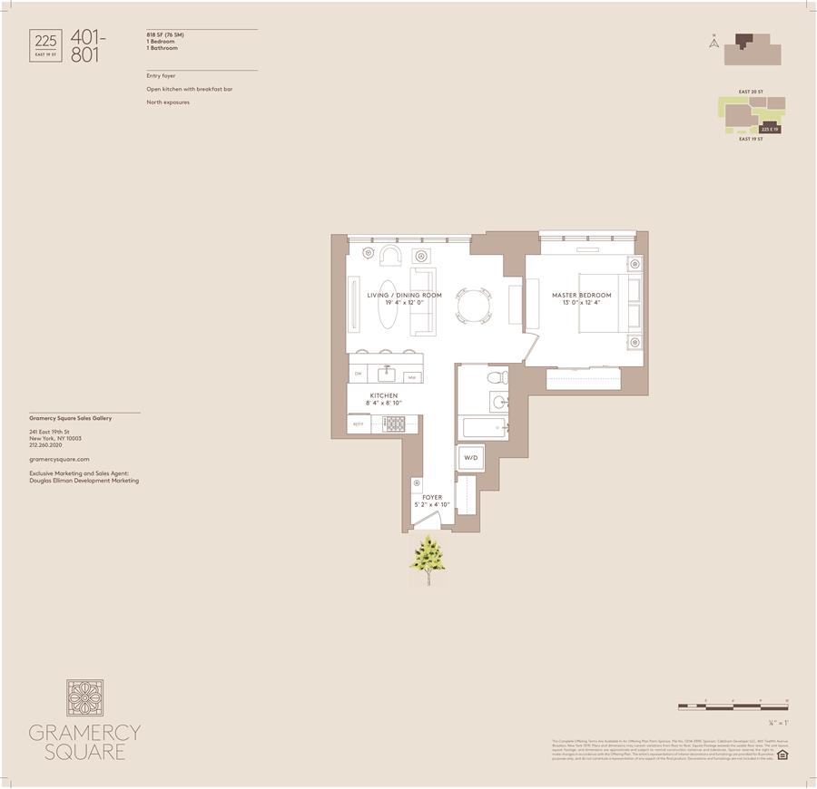 Floor plan of Gramercy Square, 225 East 19th St, 401 - Gramercy - Union Square, New York