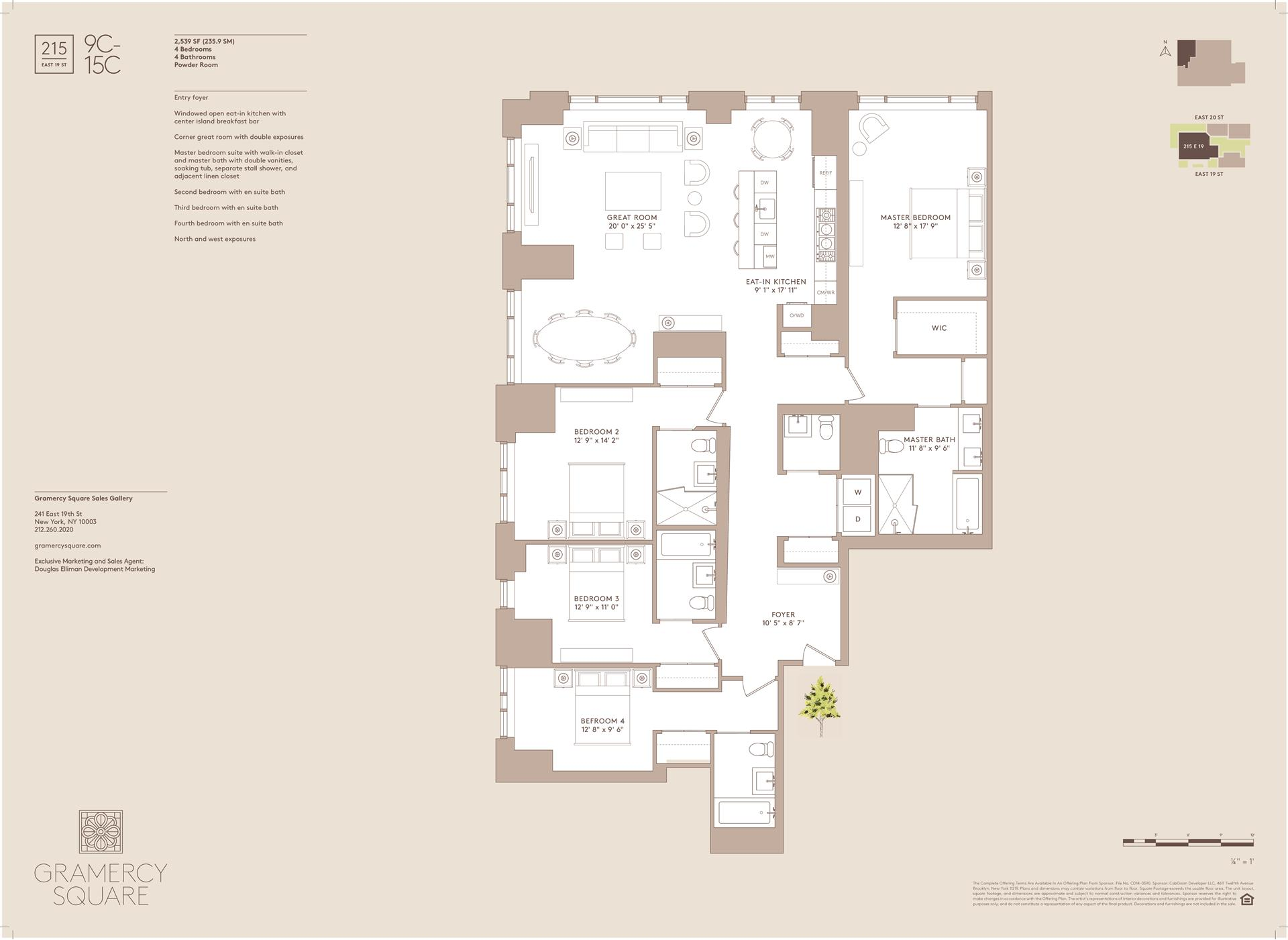 Floor plan of Gramercy Square, 215 East 19th St, 14C - Gramercy - Union Square, New York