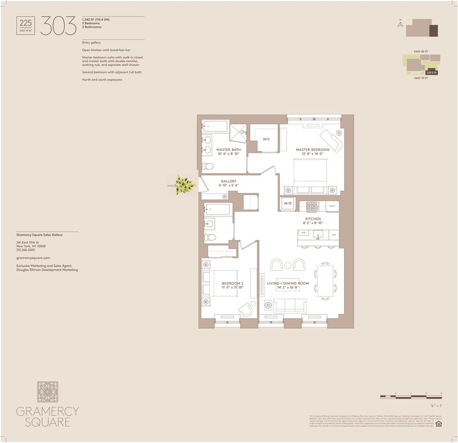 Floor plan of Gramercy Square, 225 East 19th St, 303 - Gramercy - Union Square, New York