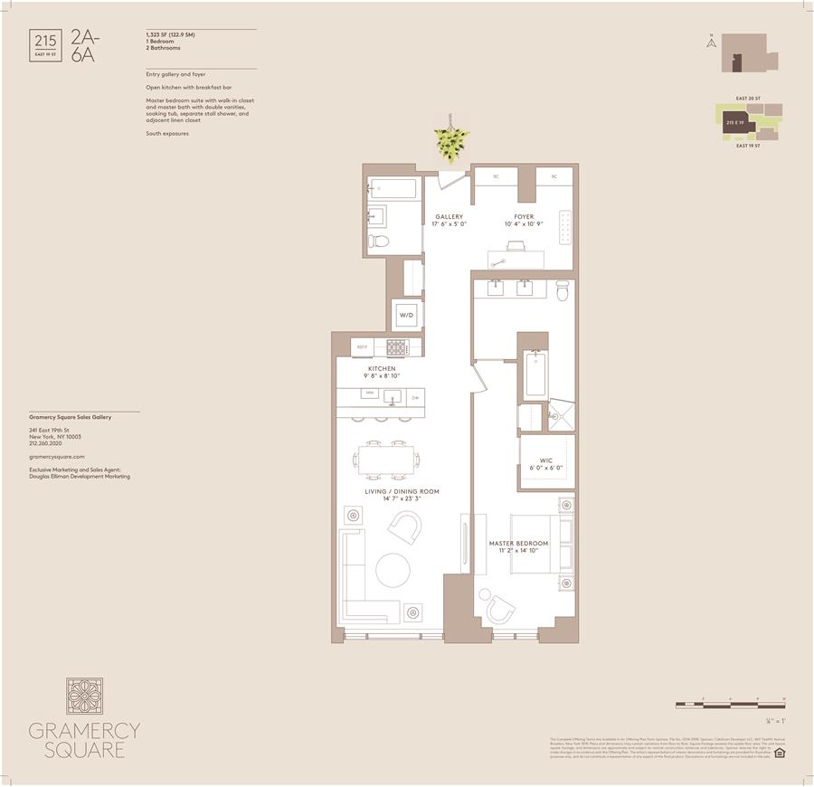 Floor plan of Gramercy Square, 215 East 19th St, 6A - Gramercy - Union Square, New York