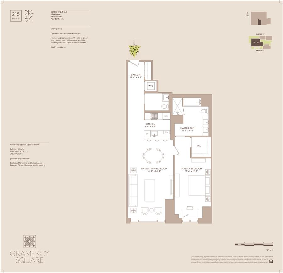 Floor plan of Gramercy Square, 215 East 19th St, 6K - Gramercy - Union Square, New York