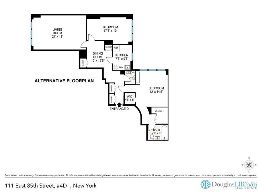 Floor plan of 111 East 85th St, 4D - Upper East Side, New York