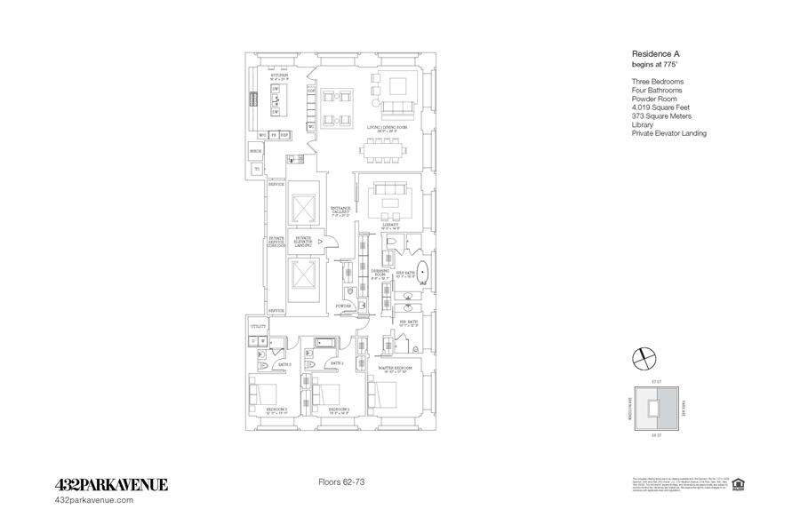 Floor plan of 432 Park Avenue, 65A - Midtown, New York
