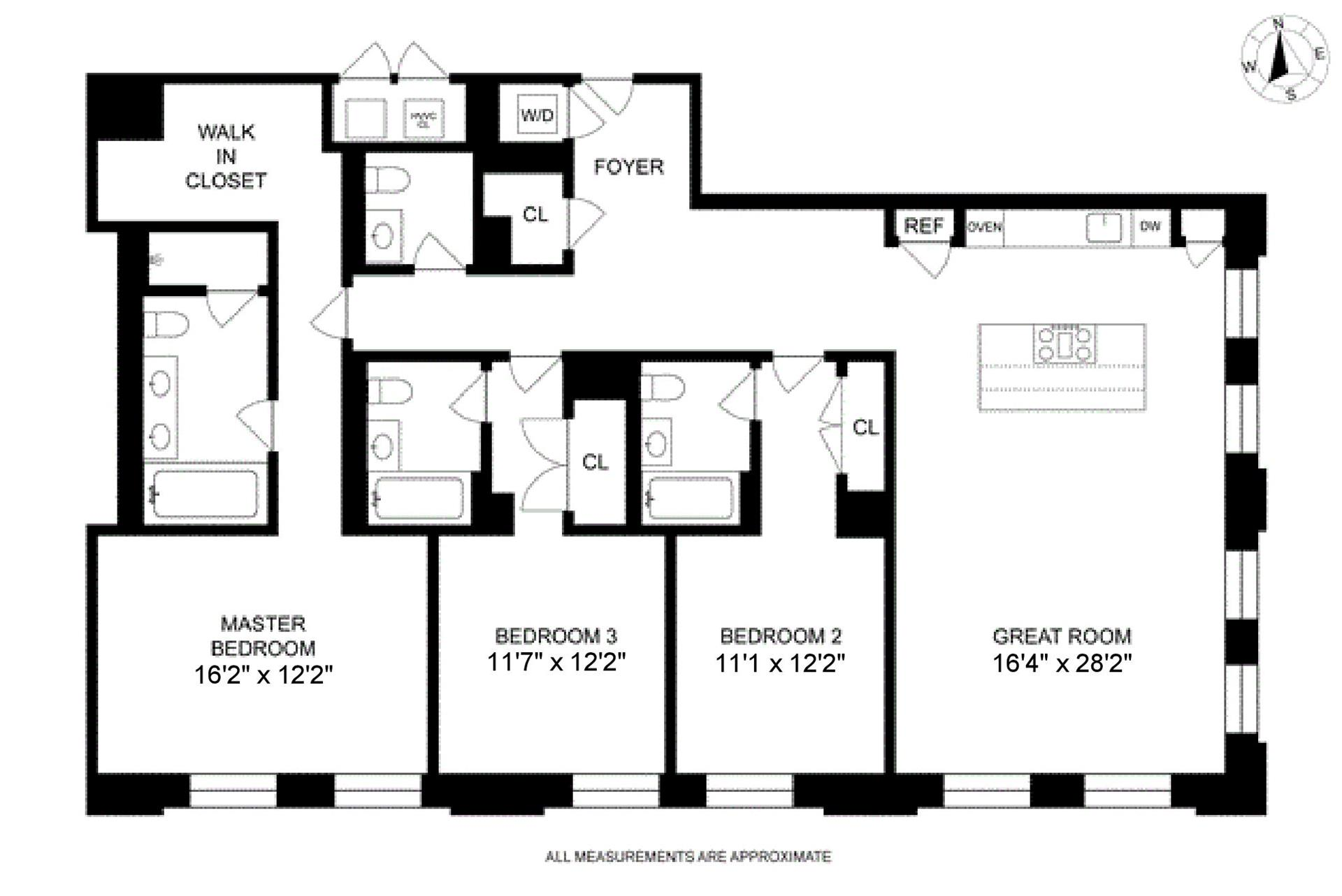 Floor plan of 250 West St, 8G - TriBeCa, New York