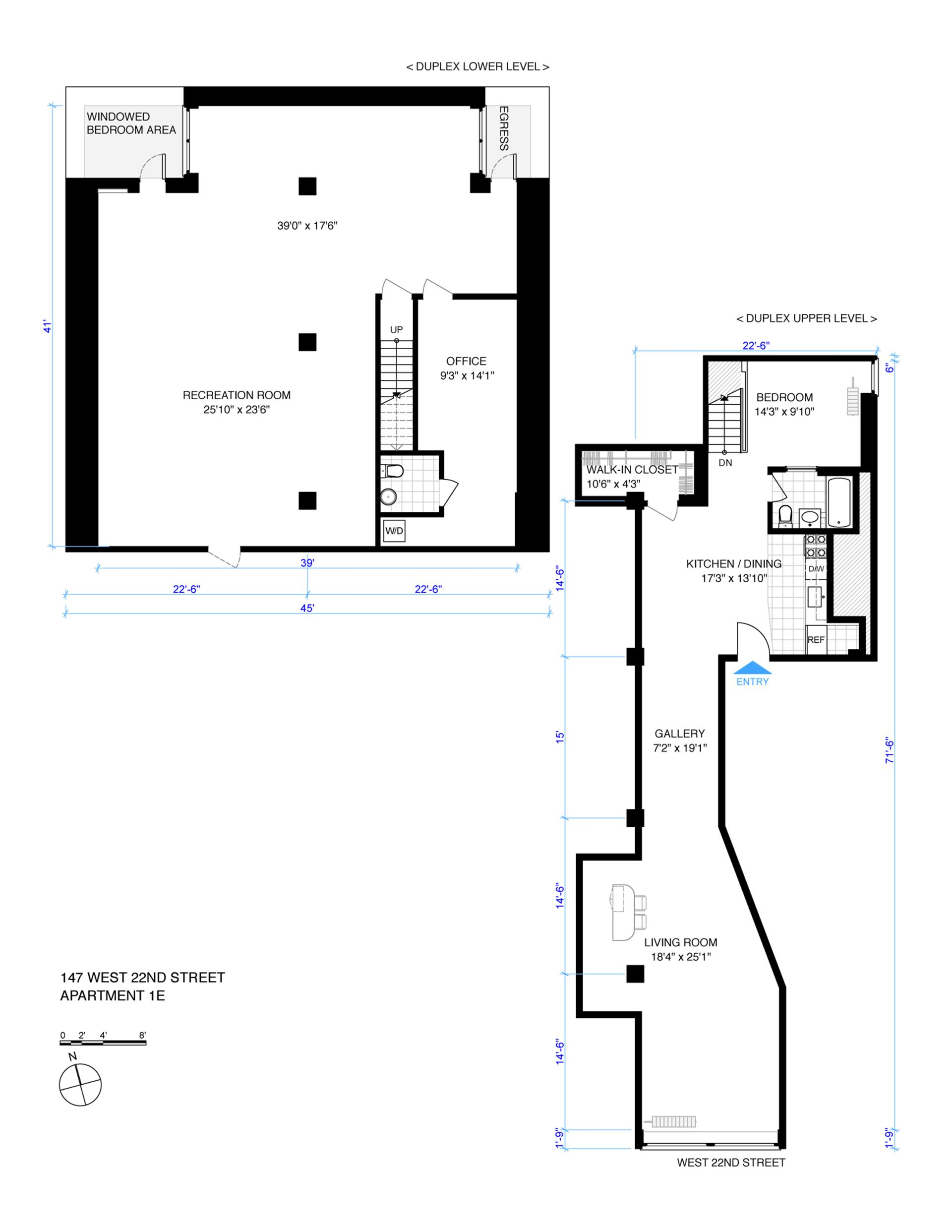 Floor plan of 147 West 22nd St, 1E - Chelsea, New York
