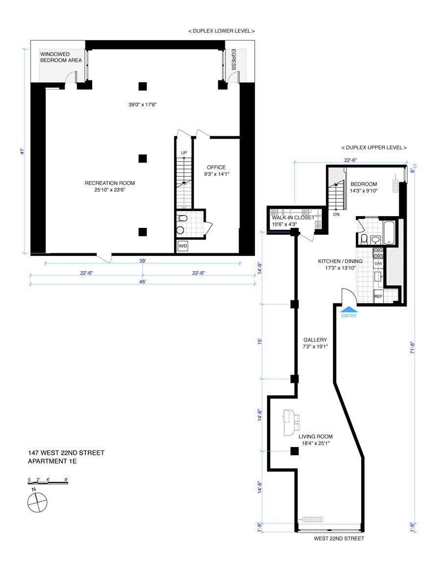 Floor plan of 147 West 22nd St, 1E - Chelsea, New York