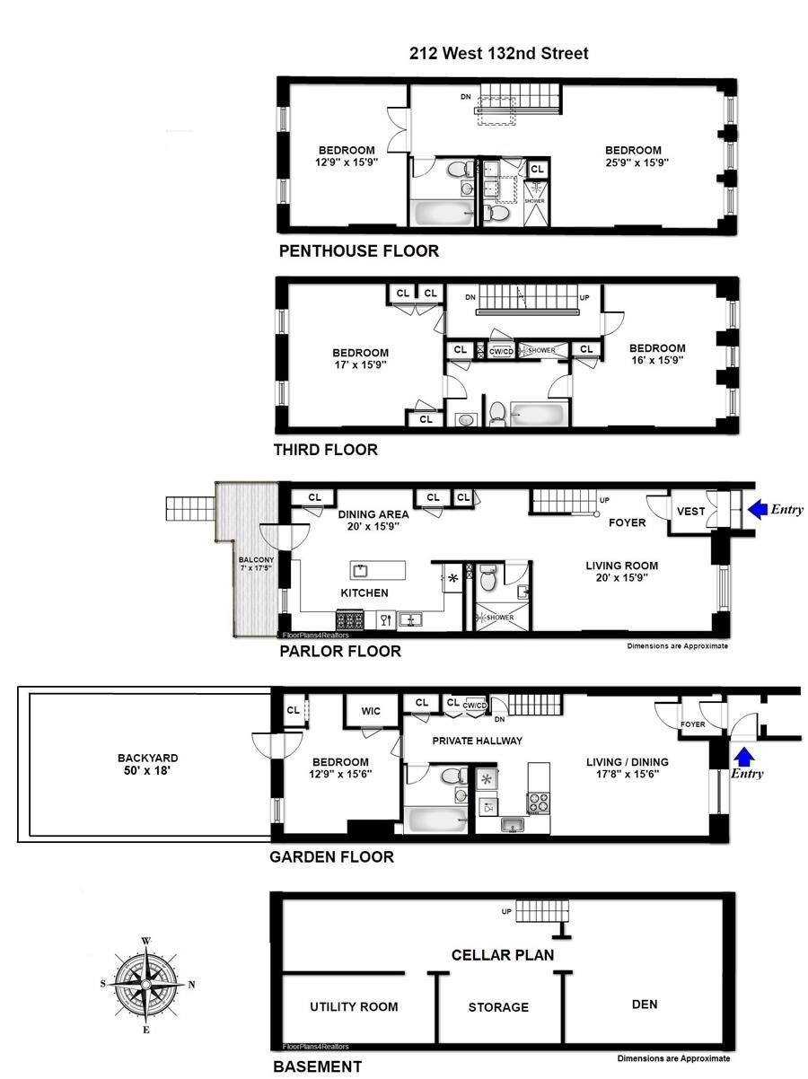 Floor plan of 212 West 132nd Street - Harlem, New York