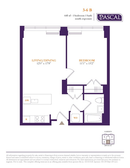 Floor plan of PASCAL, 333 East 109th St, 6B - East Harlem, New York