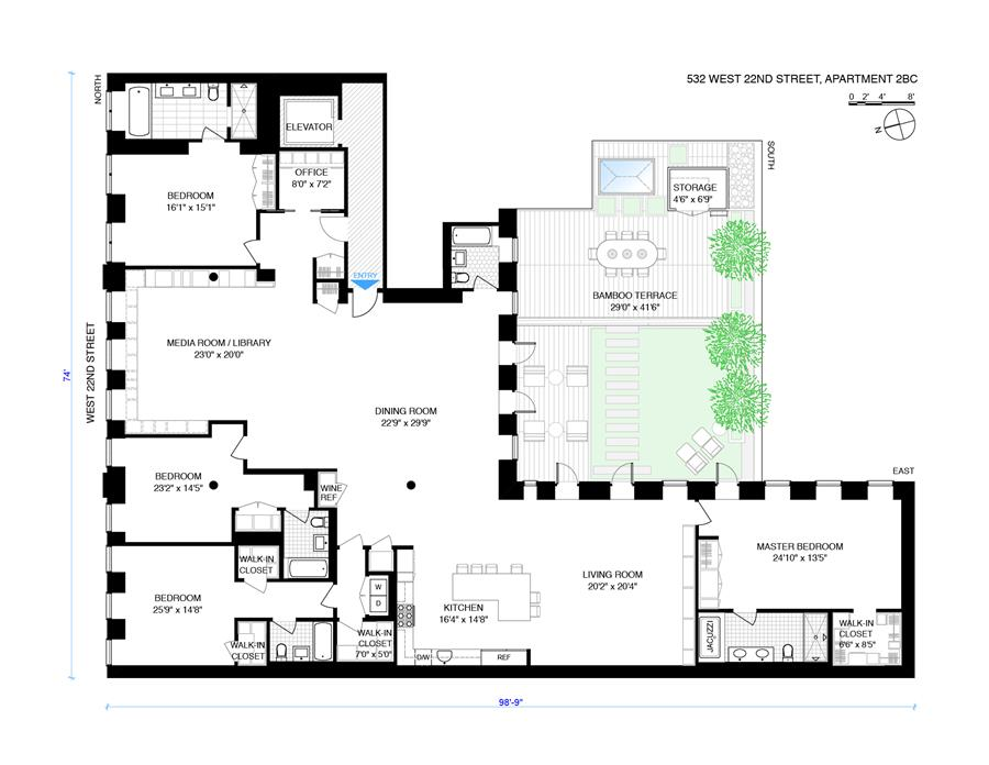 Floor plan of The Eagle, 532 West 22nd St, 2BC - Chelsea, New York
